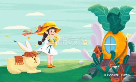 可爱卡通小清新女孩和兔子站在萝卜屋前