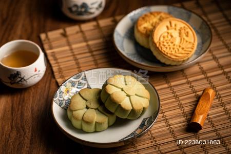 中式点心抹茶酥饼
