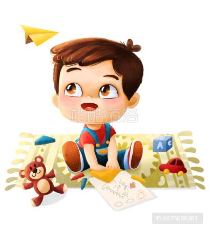 夏天坐在地毯上折纸的小男孩