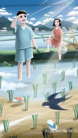 在稻田里劳动的男孩和女孩