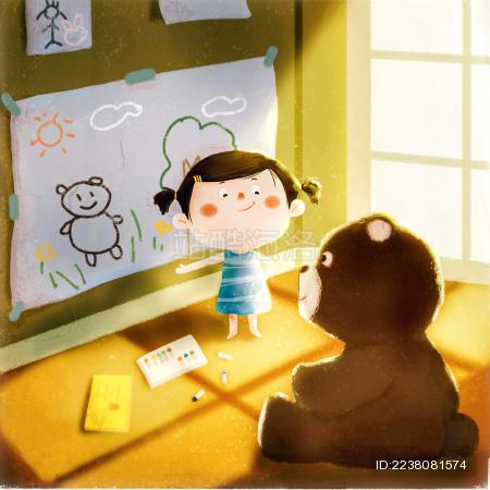小女孩在向玩具熊展示自己的新画作
