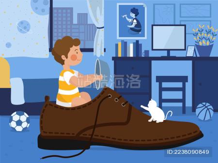 六一儿童节在鞋子里玩耍的小男孩横版