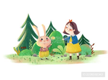 人与动物和谐相处——送你画系列插画