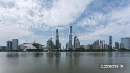 广州珠江中轴线CBD蓝天白云
