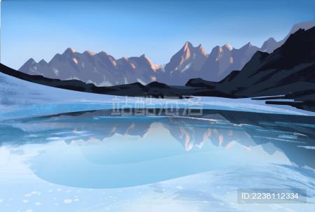 冰面湖水倒影冰山
