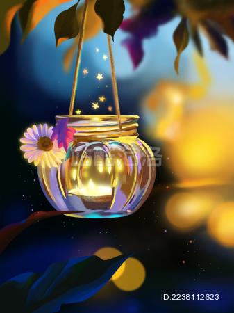 发光的小玻璃罐子