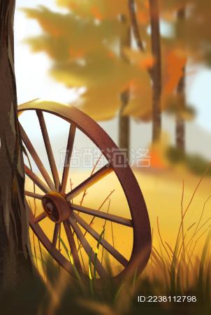 靠在树边生锈的轮子