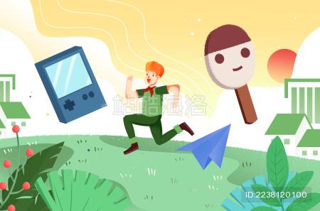 卡通手绘回忆童年学生跑步插画