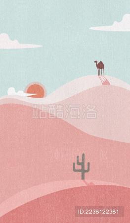 骆驼走在粉色的沙漠上