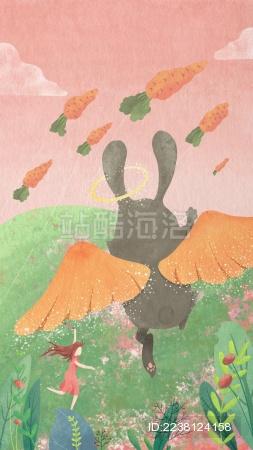 小女孩和天使兔子在草地上放风筝
