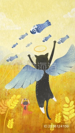 小女孩和天使猫在黄色的麦田里放风筝