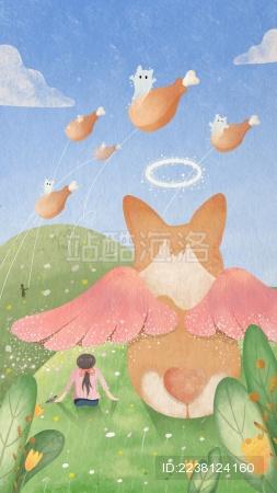 草地上放风筝的女孩和长着翅膀的狗