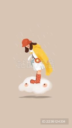 治愈系雨中穿着雨靴的女孩