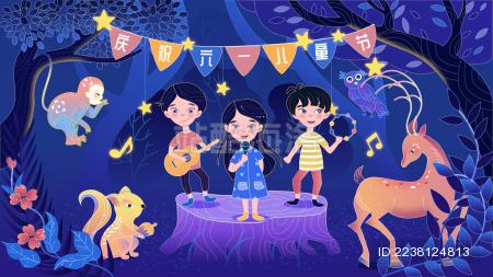 奇幻森林动物儿童汇演矢量插画
