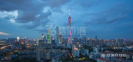 中国广东广州小蛮腰和广州航拍夜景