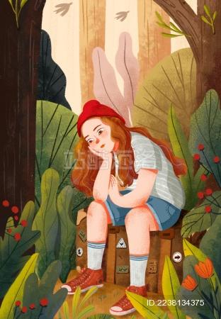 坐在旅行箱上的女孩在丛林中思考问题
