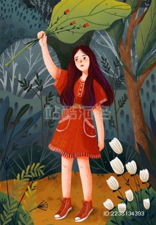 手拿叶子的女孩儿在丛林中等待花开
