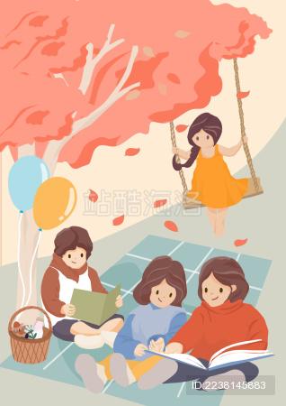 六一儿童节读书开学荡秋千竖版无字矢量插画