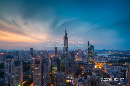 高处看南京城市中心傍晚夜景