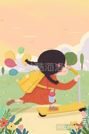 在户外玩滑板车的小女孩