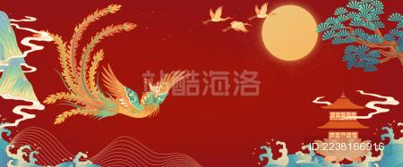 凤凰山水插画在红色背景中