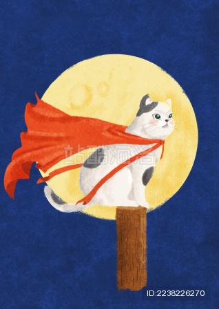 深蓝背景月亮下披着红披风的猫咪