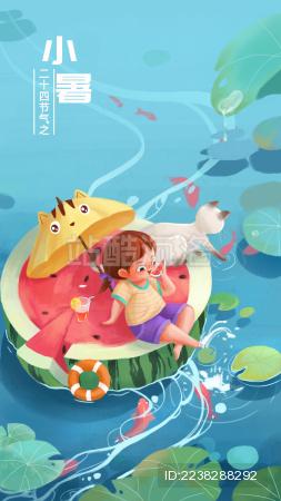 坐在西瓜上玩水的小女孩