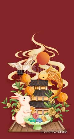 传统节日中秋节中国风手绘插画
