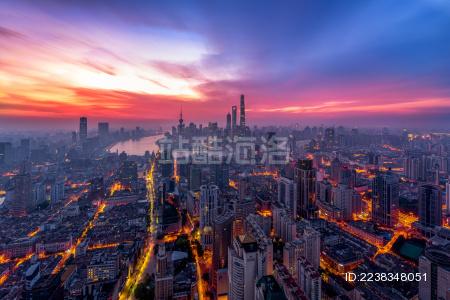 上海浦西日出风光