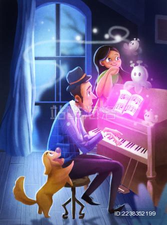 夜晚弹钢琴的叔叔弹出了精灵