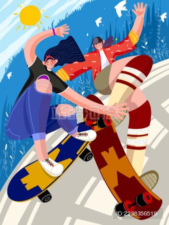 充满活力的滑板少女的夏季运动