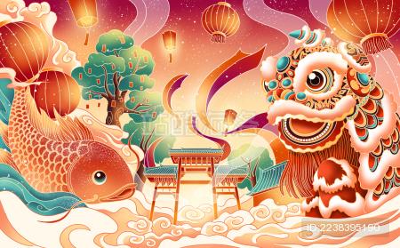 热闹的舞狮与鲤鱼跳跃的新年景象