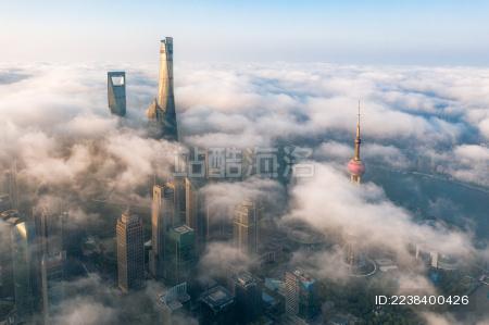 中国上海航拍陆家嘴城市风光