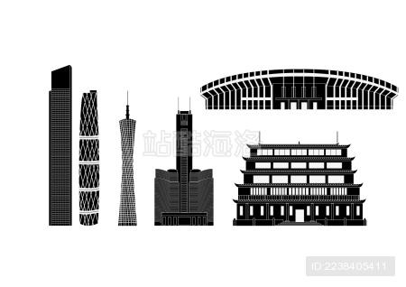 广州市地标建筑剪影