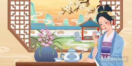 东方古典美人饮茶园林背景插图