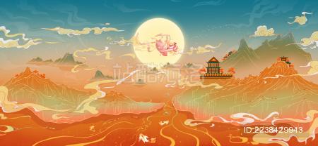 中秋节嫦娥奔月中国风插画国潮