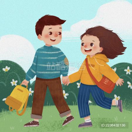 可爱卡通男生女生同学放学游玩童年插画