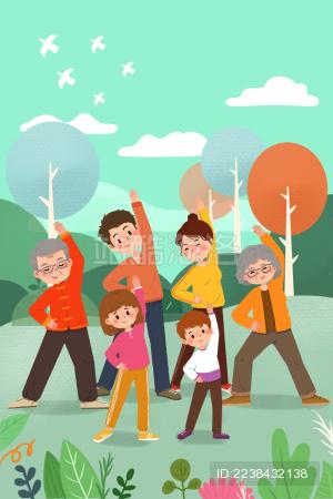 清新可爱卡通全民健身锻炼身体儿童插画