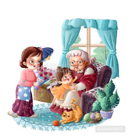 妈妈拿着花朵送给正在和孙女玩的老人