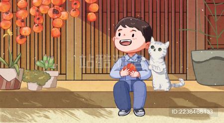 秋天霜降暖暖柿子猫和小男孩