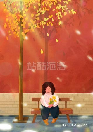 秋天小女孩坐在飘着落叶的树下
