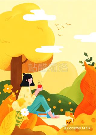秋天女孩坐在花丛中插画