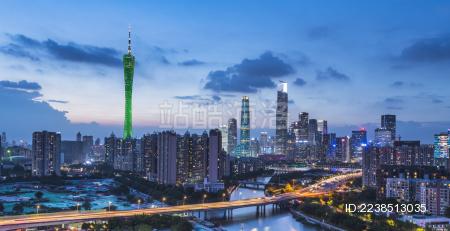 广州塔与珠江新城CBD蓝调夜景