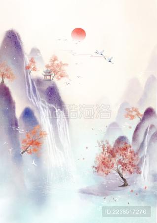 霜降节气手绘中国风意境山水画