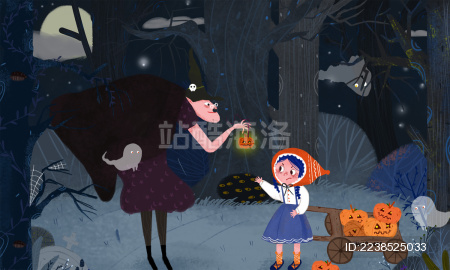 女孩在万圣节收到巫婆的毒南瓜