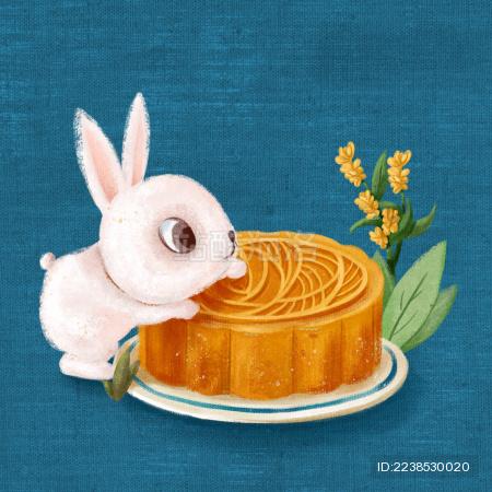 盘子里的月饼和兔子