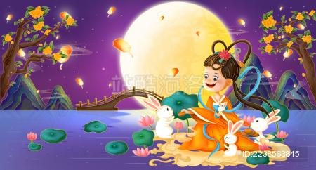 中秋月夜下的嫦娥和玉兔
