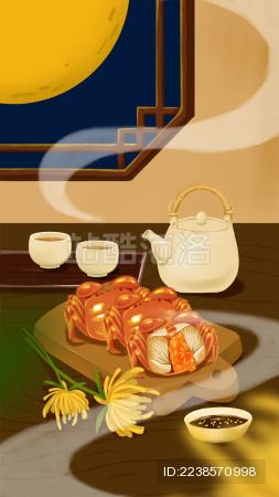 桌子上有茶具和大闸蟹