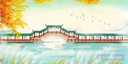 唯美秋天古桥游廊中国风手绘插画