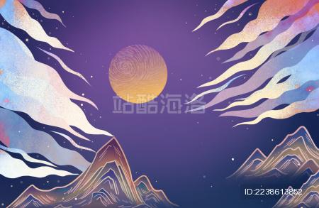 中秋节国风山水凉亭月亮插画